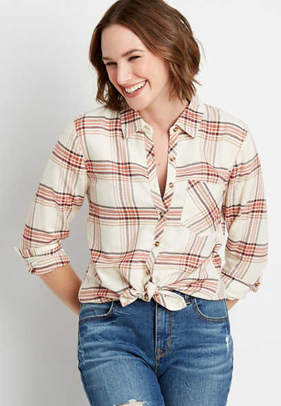Multi Plaid Button Down Long Sleeve Flannel Shirt