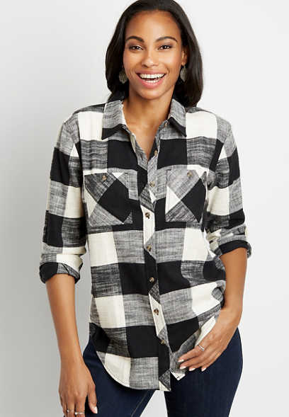 Black Buffalo Plaid Tunic Button Down Long Sleeve Flannel Shirt