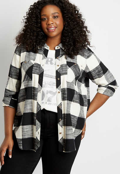Black Buffalo Plaid Tunic Button Down Long Sleeve Shirt
