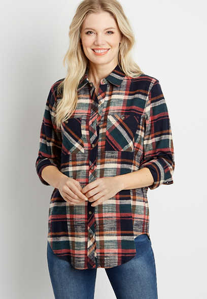 Plaid Tunic Boyfriend Button Down Long Sleeve Flannel Shirt