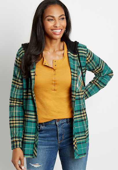 Green Plaid Tunic Button Down Hooded Shirt