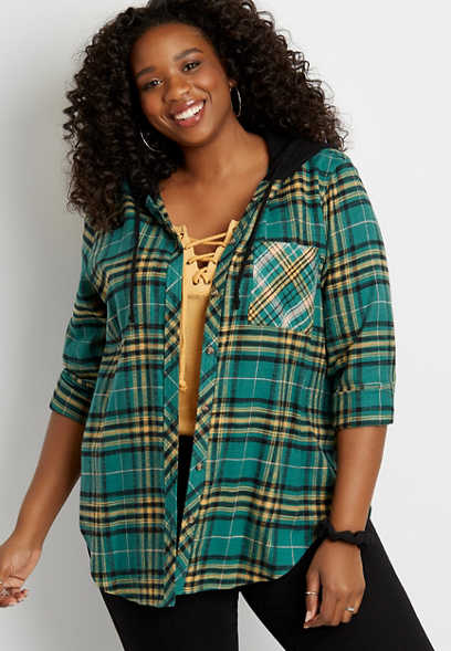 Plus Size Green Plaid Tunic Button Down Hooded Shirt