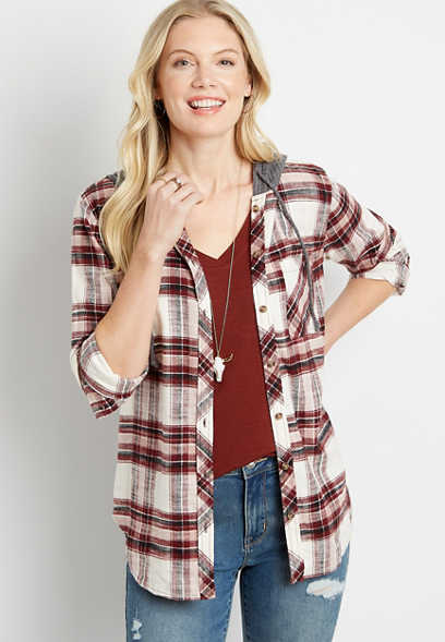 Red Plaid Tunic Button Down Hooded Flannel Shirt