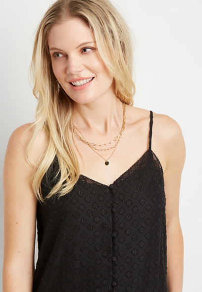 Solid Lace Trim Button Front Tank Top