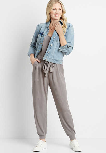 Gray Tie Waist Button Front Pocket Jumpsuit