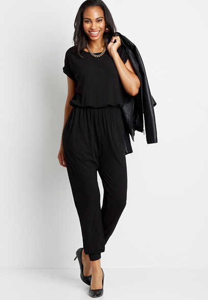 Black Ribbed Wide Neck Jumpsuit