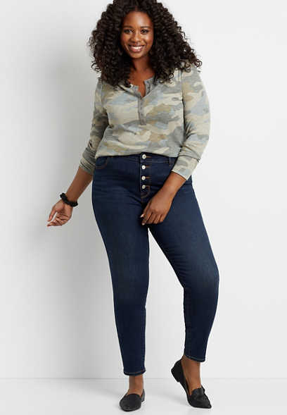 Plus Size High Rise Dark Wash Button Fly Jegging Made With REPREVE®