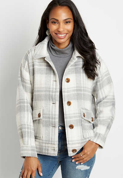 Gray Plaid Button Down Jacket