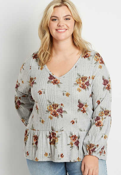 Plus Size Gray Floral Ribbed Peplum Long Sleeve Shirt