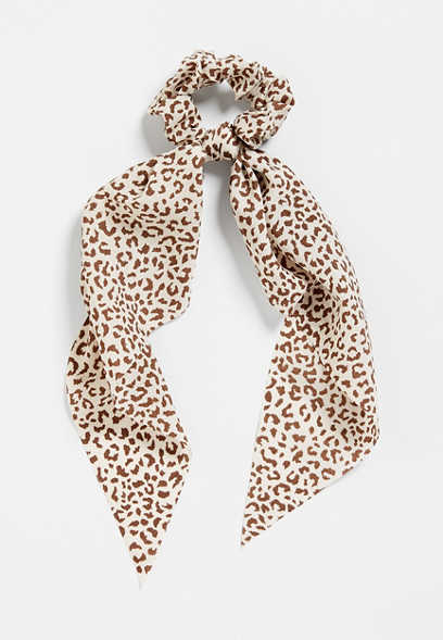 Neutral Leopard Print Scrunchie Scarf