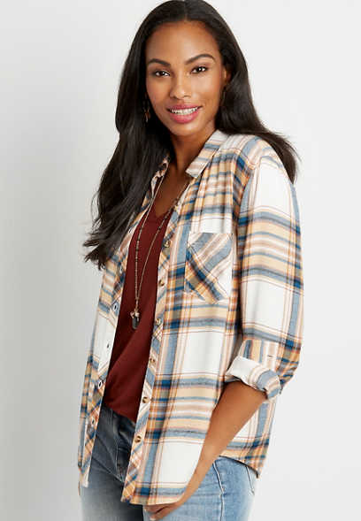 White Plaid Button Down Long Sleeve Flannel Shirt