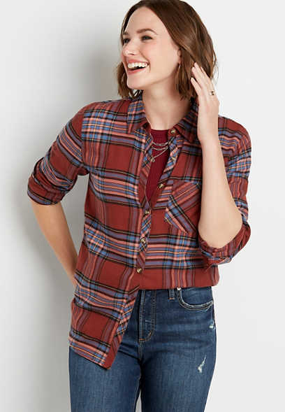 Berry Plaid Button Down Long Sleeve Flannel Shirt