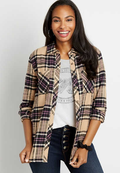 Purple Plaid Tunic Boyfriend Button Down Long Sleeve Flannel Shirt