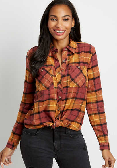 Rust Plaid Tunic Boyfriend Button Down Long Sleeve Flannel Shirt