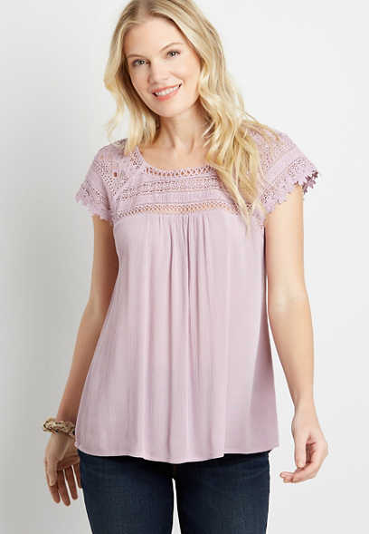 Purple Lace Shoulder Peasant top