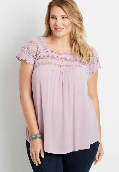 Plus Size Purple Lace Shoulder Peasant top