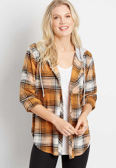Gold Plaid Tunic Button Down Hooded Flannel Shirt