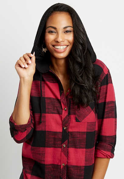 Buffalo Plaid Tunic Button Down Hooded Boyfriend Flannel Shirt