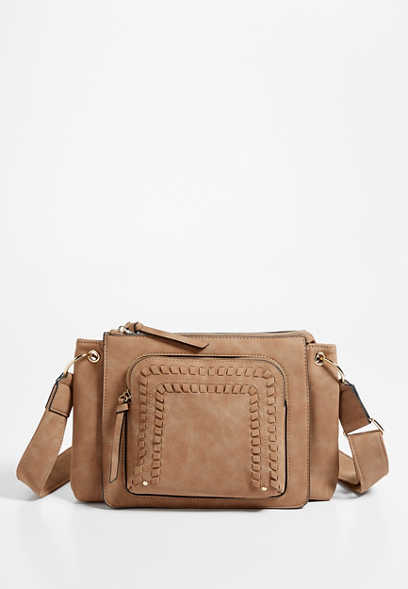 Whipstitch Pocket Crossbody Bag