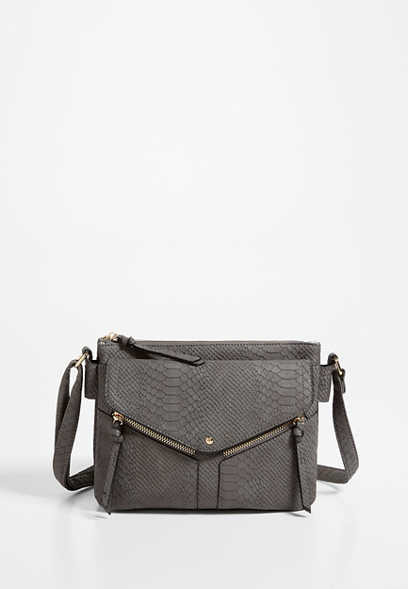 Gray Snakeskin Crossbody Bag