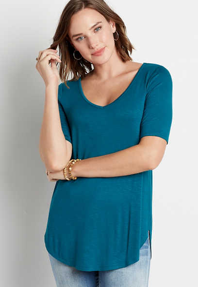 24/7 Solid Blue Flawless Tunic Tee