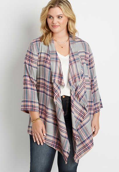 Plus Size Heather Gray Plaid Roll Tab Sleeve Kimono