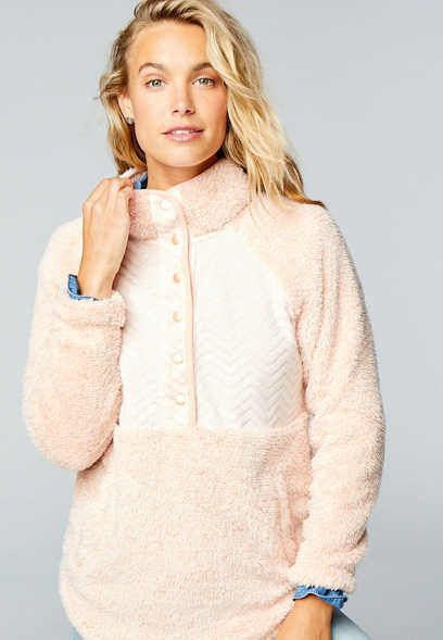 Pink Quilted Snap Front Sherpa Pullover Sweatshirt