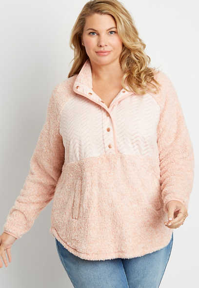 Plus Size Pink Quilted Snap Front Sherpa Pullover Sweatshirt