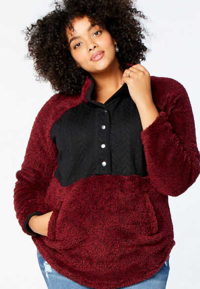 Plus Size Burgundy Quilted Snap Front Sherpa Pullover Sweatshirt