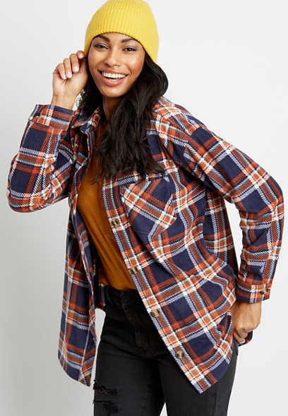 Blue Plaid Fleece Button Down Long Sleeve Oversized Shacket
