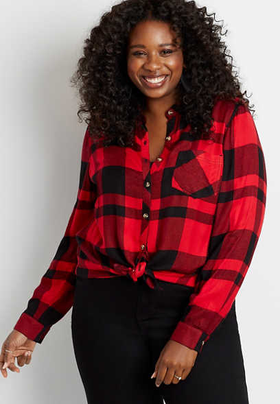 Plus Size Red Buffalo Plaid Button Down Long Sleeve Shirt