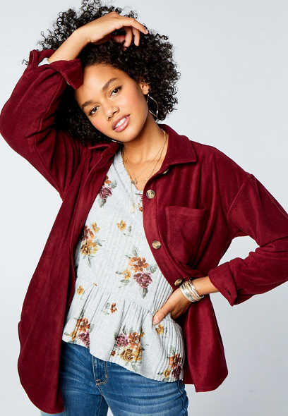 Berry Fleece Button Down Long Sleeve Oversized Shacket
