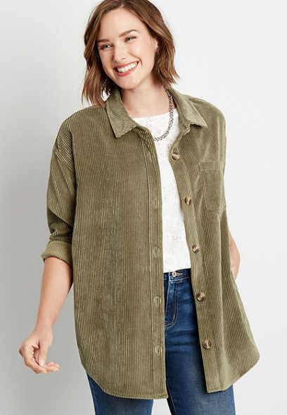 Olive Corduroy Button Down Long Sleeve Oversized Shacket