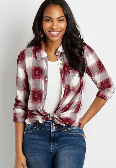 Berry Icon Plaid Button Down Long Sleeve Flannel Shirt