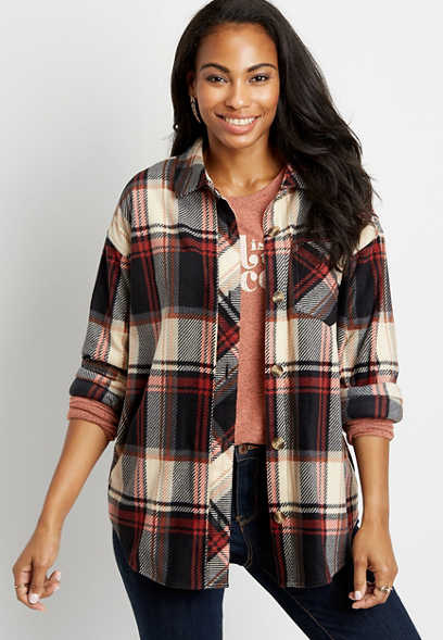 Plaid Button Down Long Sleeve Oversized Fleece Shacket
