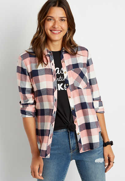 Pink Plaid Flannel Button Down Long Sleeve Shirt