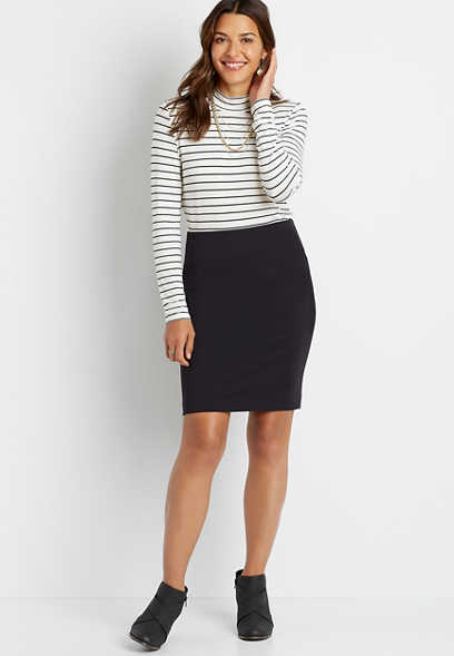 Black High Rise Ponte Ponte Pencil Skirt
