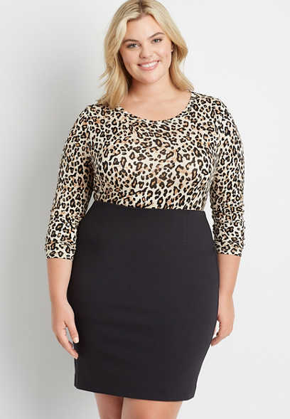 Plus Size High Rise Ponte Pencil Skirt