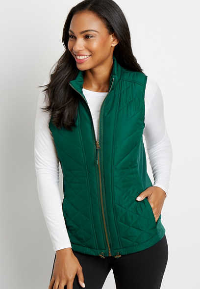 Green Zip Up Vest