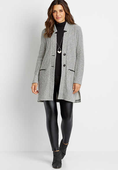 Gray Button Front Cardigan Coat