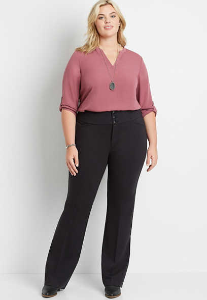 Plus Size High Rise Black Ponte Flare Trouser Pant