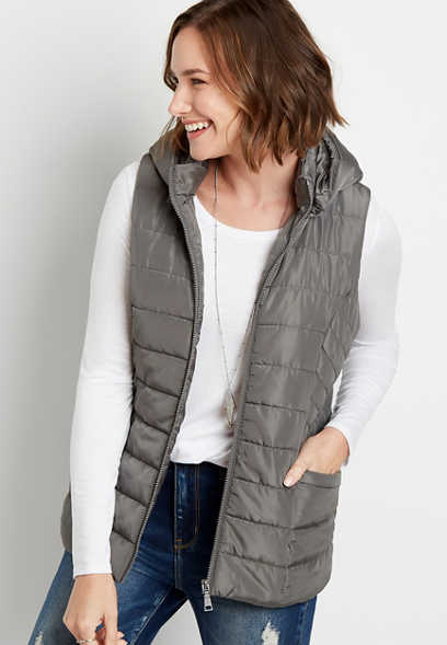 Gray Hooded Puffer Vest
