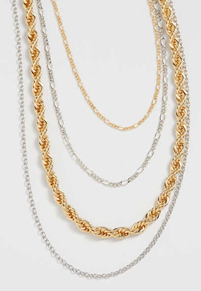 Mixed Metal Drape Chain Necklace
