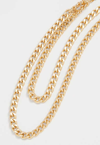 Double Row Gold Chunky Chain Necklace