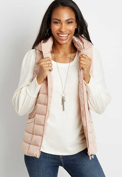Pink Hooded Puffer Vest