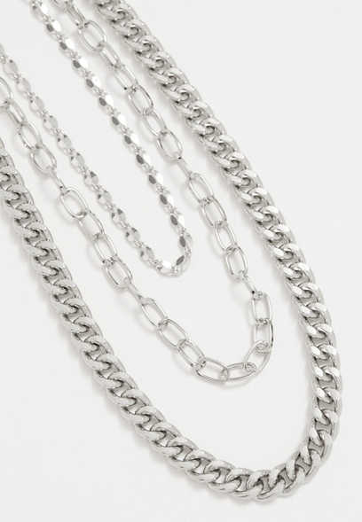 3 Row Silver Mixed Chain Necklace