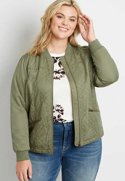 Plus Size Green Quilted Bomber Jacket