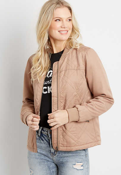 Solid Quilted Bomber Jacket