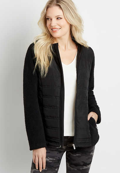 Black Quilted Front Sherpa Sleeve Hooded Jacket