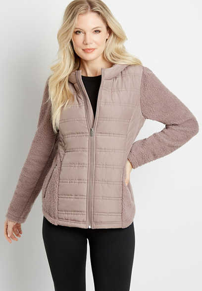 Solid Quilted Front Sherpa Sleeve Hooded Jacket